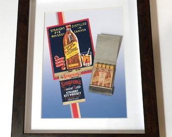 Whiskey Bar Decor Collectible Seagrams Whiskey Wall Decor Liquor Bar Decor Collectible 1940s Matchbook Bar Decor 4 Home Office or Bar