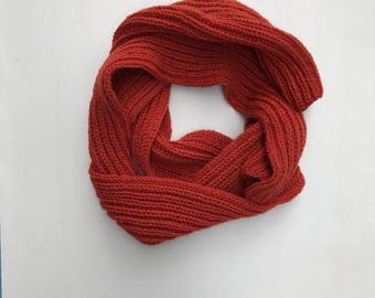 COLLECTION: HAYES Hand Knit Burnt Orange Wool Blend Scarf