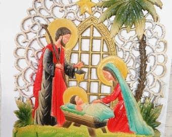 Vintage Christmas, Manger Scene, Mary, Joseph, Jesus, Embossed Large Calendar Top, 3-D Die Cut, Western Germany, Wall, Home Decor