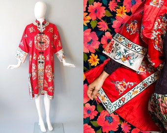 1960s Chinese Duster / Embroidered Coat / Mid Century