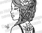 SALE Digital Download Print Your Own Coloring Book Outline Page - Pretty Tattooed Pin Up Girl With Braided Hair