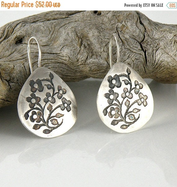 Floral Silver Earrings , Sterling Silver Earrings , Tiny Flowers Earrings , Medium Drop Earrings , Miniature Flowers Earrings Gifts For Her