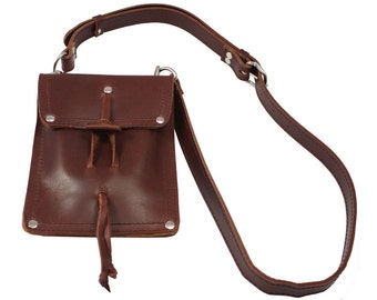 Leather Shoulder Pouch Satchel, Kindle, Nook, iPad Mini Case - Burgundy