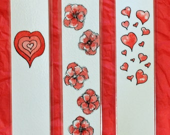 "Bookmark laminated original art pen and ink watercolor 1.5"" x 6.25"" red heart flower romantic love Valentine's day gift"