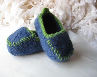 Cobalt Blue Wool Crochet Felted Moccasin Bootie, Sizes S M L,  Made to Order, Top Stitched, Babies First Loafers, Baby Toddler Moccasins