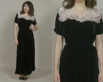 40s Dress Black Velvet Gown Blush Pink Ruffle Yoke Sheer Neckline Belted 1940s Cocktail Dress Maxi Romantic / Size M Medium