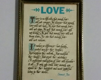 Love quote from Paulison Parchments, vintage small framed art, by Emmet Fox, with vintage frame