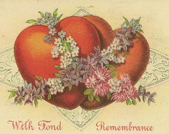 With Fond Remembrance Two Hearts Together with Spring Floral Garland Romantic Vintage Postcard