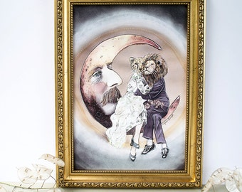 Romantic vintage inspired illustrated A4 print of the night sky with the man in the moon and a lion and cheetah loved up couple