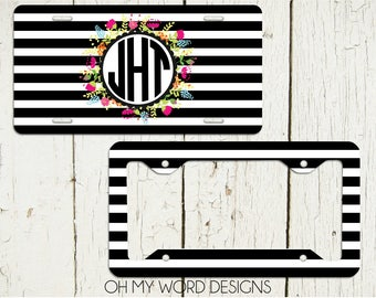 Rugby Stripe Floral Monogrammed Car Tag-Personalized License Plate-Monogram Car Tag-Monogrammed License Plate-License Plate Frame