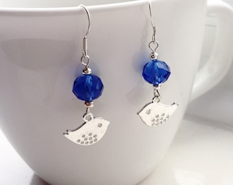 Blue Bird Crystal Earrings