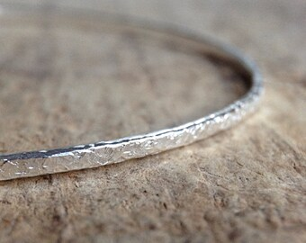 Textured Silver Bangle, Gift For her, Glitter Bangle, Boho Bracelet, Holiday Gift Ideas, Sterling Silver Bracelet, Boho Luxe Jewelry