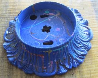 Handpainted Vintage Cobalt Industrial Lamp Base