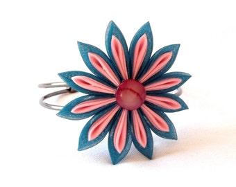 Pink and Teal  Large Flower Adjustable Corsage Bracelet Folded Organza Wearable Fiber Art Kanzashi