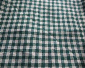 Forest Green Plaid Cotton Fabric Yardage Small Plaids Forest or Dark Green and White One Yard