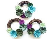 Mini Succulent Felt Wreath / Felt Wreath / Floral wreath / home decor / front door / Felt flower wreath
