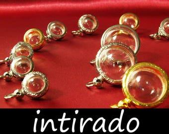 Japanese Moss Ball, Fillable Locket, Terrarium Necklace, Terrarium Kit, Locket Blank, Pendant Case, Globe, Sphere, Bubble, Reliquary, 16pcs
