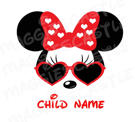 vinyl decal diy iron on minnie with sunglasses