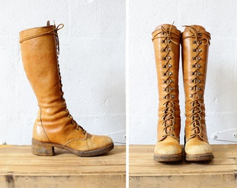 Lace Up Boots 9 • Zodiac Boots • Knee High Lace Up Boots • 70s Boots • Chunky Heel Boots • Brown Leather Boots • Knee High Boots    SH365