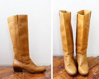 Nine West Boots 7 • 70s Boots • Vintage Boots • Knee High Boots • Brown Leather Boots • Riding Boots • Tan Leather Boots | SH363