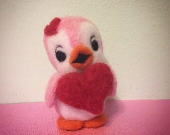 Pink Bird Holding Heart / Felted Soft Sculpture