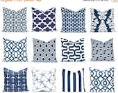 15% Off Sale Navy and White Pillow Covers - Navy Blue Pillow Covers - Blue Pillows - Navy Blue Cushions - Throw Pillow Cover - Nautical Deco