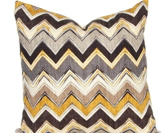 One Euro Sham Chevron Pillow Cover - Brown, Gold, Taupe - All Sizes - Textured Designer Fabric - Sofa Cushion Covers - Brown Pillow Covers