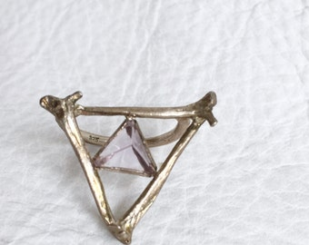 Sterling Silver Triangle Bone Ring with Amethyst, crystal, Pyramid, tetrahedron, life cast Taxidermy Jewelry