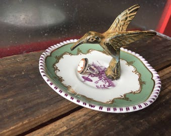 Hummingbird Antique dish ring dish | Assemblage jewelry storage | Repurpose ring tray