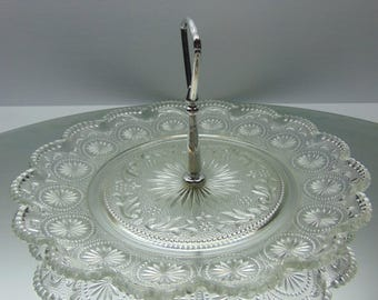 Vintage Desert Plate,  Clear Glass Handled Serving Plate