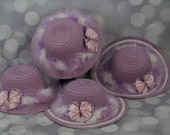 Tea Party Hats; Set of Four Lavender Easter Bonnets with Boa; Girls Sun Hats; Lavender Easter Hat; Sunday Dress Hat; Derby Hat; 16299