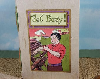 Get Busy! Man Sawing Logs Writing Journal with Vintage Postcard Cover and Tacket Binding Spine