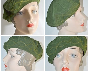 Vintage Olive Green Suede Beret With Metallic Gold Stitching
