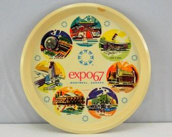 Vintage Expo 67 Montreal Canada Plastic Tray 1967 Retro Future World's Fair Mid Century