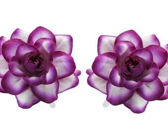 1 Pair Mini White/Violet Edge Rose flower Hair Clip