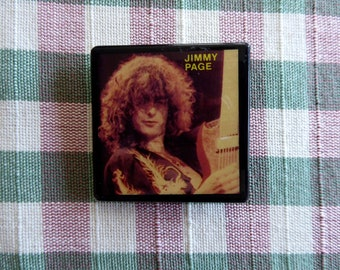 """JIMMY PAGE  Square Led  Zeppelin  Pinback Button  Original 1980's 1 1/2"""" inches Exc"""