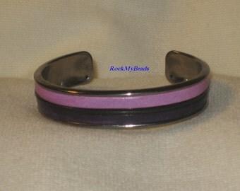 Dark and light Purple Leather Cuff Bracelet,jewelry,leather cuff,purple cuff bracelet,lilac cuff bracelet,gift for her,3 strand leather cuff
