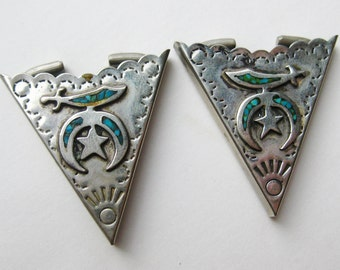 Vintage Masonic Western Cowboy Turquoise Inlay Mens Silver Collar Tips