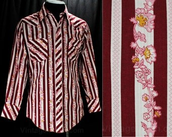 Size Medium Men's Western Shirt - 1970s Rockabilly Retro - Maroon Pink White Floral Stripe Cotton - 70s Casual Cowboy - Chest 42 - 48464
