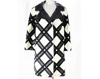 Size 12 Designer Coat - Mod 1960s Black Leather & White Cotton Bold Plaid Outerwear - 60s Leo Narducci Jacket - As Is - Bust 40 - 48351