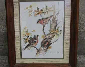 paul whitney hunter bird print home interiors distressed wood frame man cave den decor cabin lodge