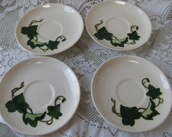 metlox poppy trail california ivy saucers set of 4 hand painted mid century pottery