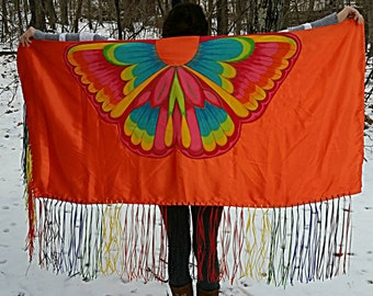 Fancy Dance Shawl Girl Teen Regalia NDN Rainbow Ribbon Fringe Orange Satin Butterfly Aplique