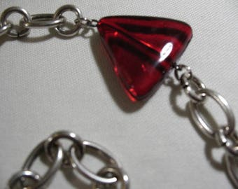 Mod Vintage Chain Necklace with Red Glass Accents
