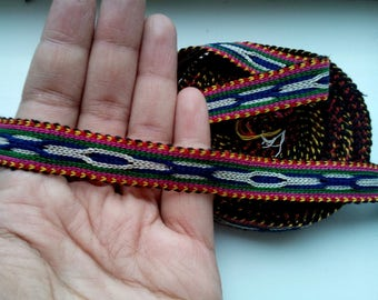 Uzbek handwoven cotton trim Jiyak. Tribal ethnic, boho, hippy trim. TR067