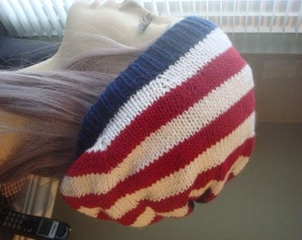 Beanie - Red White and Blue Beanie - Knit Hat - Slouchy Hat - Slouchy Beanie - Beanie Cap - Striped Beanie
