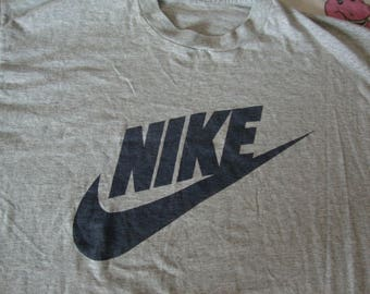 Vintage 80's NIKE Swoosh Long sleeve 50/50 gray tag missing T shirt Adult size XL