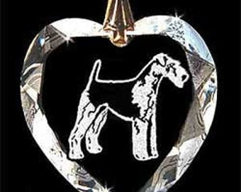 Airdale dog, Jewelry Custom Crystal Necklace Pendant, Suncatcher with any Animal or Name YOU Want, Gift, Dog Lover, Handler, puppy, trainer