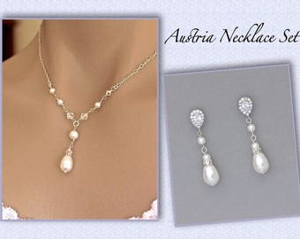 Bridal Necklace Set, Pearl Necklace and Earrings SET, Bridesmaids Jewelry Set, Wedding Jewelry SET,  AUSTRIA