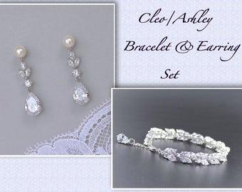 Wedding Jewelry Set, Earrings & Bracelet Bridal Set, Pearl Stud Earrings and Bracelet SET, Bridal Jewelry Set, Cleo/Ashley PP